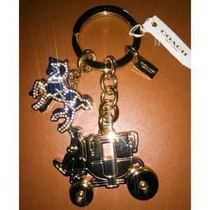 NWT Coach Horse Carriage Gold Metal Pave Keychain